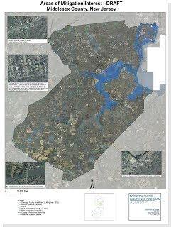 A sample map showing Areas of Mitigation Interest in Middlesex County, New Jersey.