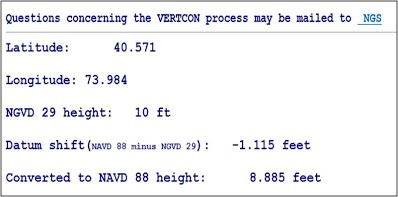 VERTCON results screen showing latitude value of 40.571, longitude value of 73.984, NGVD29 height of 10 feet, conversion factor of -1.115 feet and a converted elevation of 8.885 feet NAVD 88